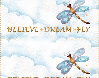 Quilt Labels - Four Dragonflies.