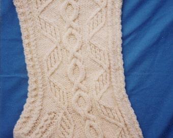 Aran Christmas Stocking Knitting Pattern - Lus-a'-chraois (Honeysuckle) (PDF download)