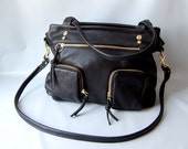 Willow leather bag in black // gold tone hardware