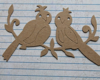 3 Bare Unfinished chipboard lovebirds on branch diecuts 4 5/8 inches wide