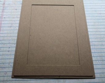 2 Rectangle Chipboard Frame with backing pieces Diecuts inner opening 3 3/8 x 5 3/8 inches