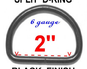 "10 PIECES - 2"" - Split D Rings, 50.8mm, Heavy Duty, NON welded, BLACK Finish"