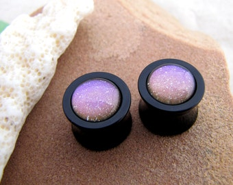 "Double Flare Plugs - Black Acrylic Plugs - Galaxy Dust Sparkle - 0g 00g 1/2"" 9/16"" 5/8"" 3/4""  - Glitter Mauve Plugs"