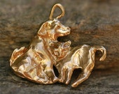 Little Buddies Cat and Dog Charm in Gold Bronze