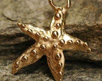 Dotted Starfish Charm in Gold Bronze