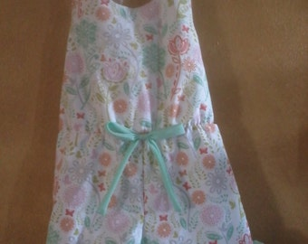 Girls halter romper with elastic waistline, aqua ruffles and bow, size 4T ready to ship, available in 2T to 5T