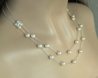 Bridal Pearl Necklace - Double Strand Pearl Wedding Necklace in White or Ivory Pearls - Crystal and Pearl Wedding Jewelry by JaniceMarie