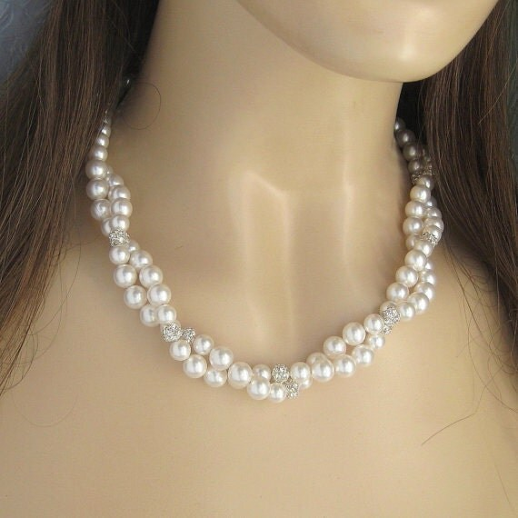 Special Order for Lindsay - Bridesmaids Pearl and Crystal Necklaces and Earrings - Wedding Jewelry by JaniceMarie