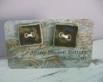 Buttons - Ceramic - Square - Green Buttons - Handmade Pottery Buttons