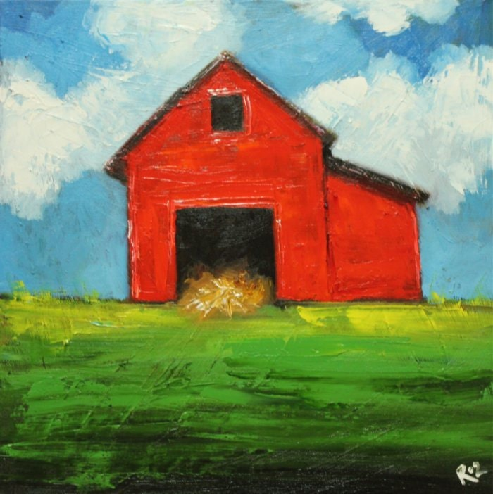 Landscape painting 212 18x18 inch red barn original oil for Watercolor barn paintings