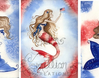 Blank PATRIOTIC MERMAID Note Cards from Original Watercolors by Camille Grimshaw