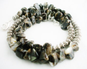 Men's Necklace Shell and Metal Beads Black