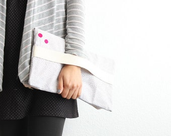 Grey and white geometric print oversized fold over Clutch I
