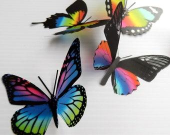 36 x 3D Butterflies in Rainbow Colours