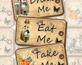 Drink Me, Eat Me, Take Me, Alice in Wonderland Tags- Printable Collage Sheet JPG Digital File-DIY Wedding Favor Tags -New Lower Price