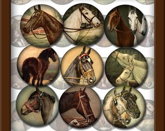 "Horses 1"" Round Vintage Equine Art Circles-Bottle Cap Jewelry Supplies- Printable Collage Sheet Download JPG Digital File- New Lower Price"