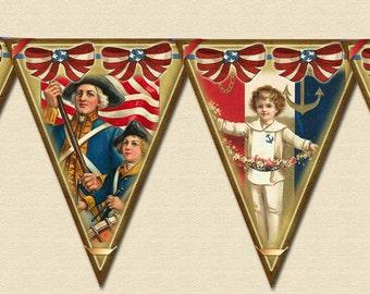 PaTriOtiC Americana- PRiMiTiVe Vintage Art Banner- Flags Pennants- INSTaNT DOWNLoAD- Printable Collage Sheet JPG Digital File