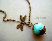 Turquoise Necklace with Dragonfly