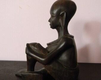 Vintage Wood Sculpture . Carved Lady Carving