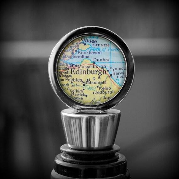 Edinburgh Scotland Wine Bottle Stopper - Vintage Map - Perfect Hostess Gift