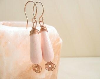Pink Earrings  Copper earrings Rustic earrings