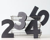 Vintage Number Signs - Set of four: numbers 2, 3, 4 and 5