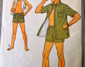 Vintage 1979 Sewing Pattern Simplicity 8992 Men's Shorts and Shirt Chest 38 or 40 inches Complete
