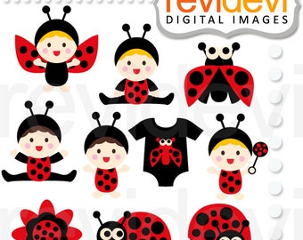 Baby clipart - Cute ladybugs baby clip art - digital images - commercial use