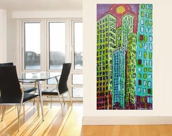 "Skyscrapers 1... original painting, 31.5x16.3"", 41,5x80 cm, acrylic, wood, city, building, house, abstract, fantasy"