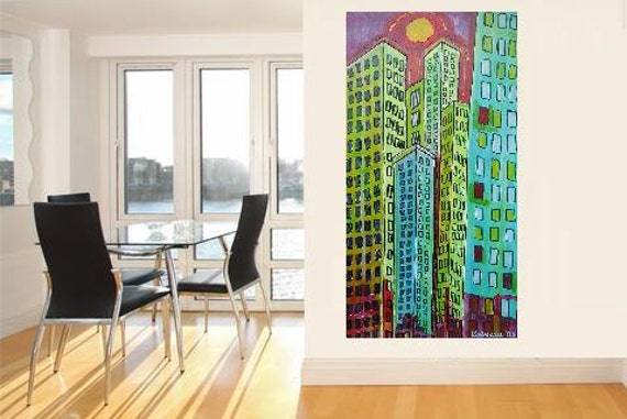 """Skyscrapers 1... original painting, 31.5x16.3"""", 41,5x80 cm, acrylic, wood, city, building, house, abstract, fantasy"""