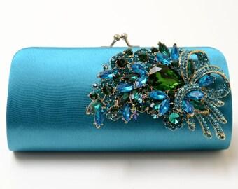 Rhinestone Bridal Clutch in Teal - Bridesmaid Clutch - Formal Clutch - Peacock Color Rhinestone Clutch - Something Blue SALE
