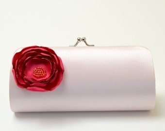 Bridal Clutch Bridesmaid Clutch - Silver Clutch with a Petite Pale Pink Flower Bloom - Bridesmaid Gift