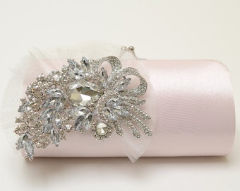 Rhinestone Bridal Clutch in Pale Blush Rose Quartz Pink ~ Bridesmaid Clutch ~ Rhinestone Clutch ~ Statement Bridal Clutch SALE