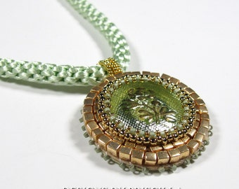 Green Glass Bead Embroidered Pendant Necklace Kumihimo Rope in Celadon Green Wearable Art