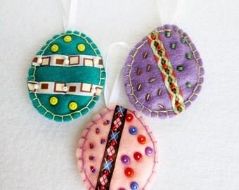 Easter Egg Ornaments, Felt Eggs, Easter Decorations, Beaded Easter Eggs