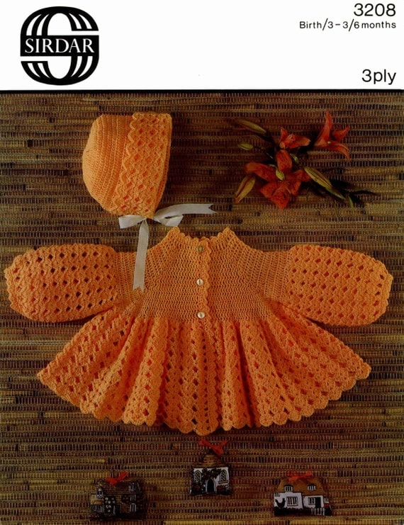 Vintage Baby Matinee Coat, Crochet Pattern, 1960 (PDF) Pattern, Sirdar 3208