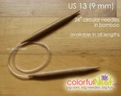 US 13 Circular Knitting Needles - 24 20 16 inch any length available bamboo with plastic tubing (9 mm) 20 inch 16 inch 14 inch