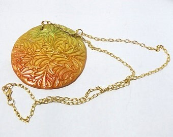 Fall Colors Leaf Motif Polymer Medallion Pendant Necklace, 20 inch Pastel Medallion Necklace, Gold Chain Ladies Jewelry