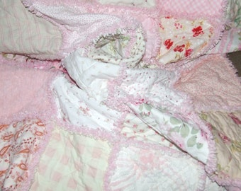 Custom Rag Quilt Personalized * TODDLER Bed * TEEN * ADULT *  Lg Throw Vintage Chenille & Minky Shabby Chic Sampler * Made to Order *