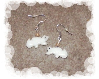 White Wolf Dangle Earring with Rose Quartz Gemstones