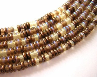 New 100 Czech Glass Slice Rondelle Beads MIXED BROWNS AB 2x4mm