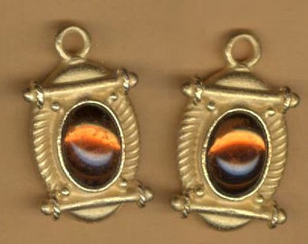 vintage charms, etruscan design, russian gold plate, amber foil glass cab, one pair so many uses