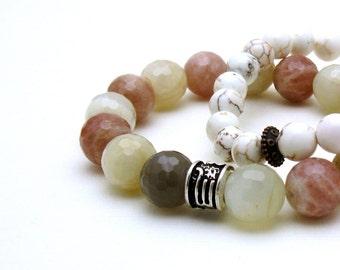 Moonstone Modern Beaded Bracelet, Pink and White Stretch Bracelet, Gift for Her, Under 140