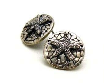 Vintage Sterling Silver Starfish Post Earrings  Sand Dollar Stud Earrings Beach Earrings