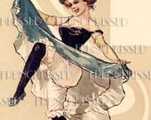 Instant Download Digital Scan FRENCH CanCan Dancer Blue Antique Postcard  photo download