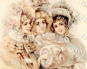 Instant Download Three VICTORIAN girls in Winter Fashion Muff Bonnets Antique French postcard DIGITAL Scan