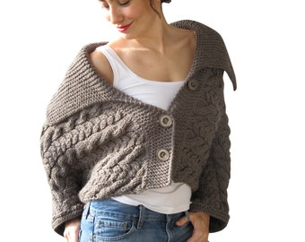 Cable Knit Cardigan by Afra