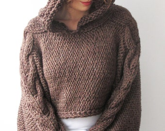 Plus Size Knitting Sweater Brown Capalet with Hoodie - Over Size -  Cable Knit by Afra