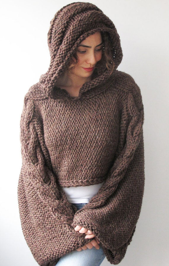 Plus Size Knitting Sweater Brown Capalet with Hoodie Over