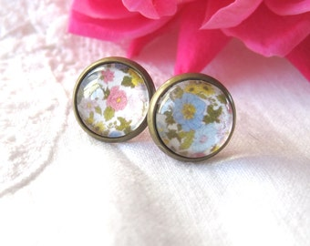 Floral Print Mismatched Antique Brass Post Earrings